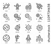 set of 16 icons such as lander  ...