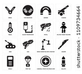 set of 16 icons such as bullets ...