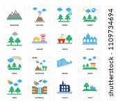 set of 16 icons such as field ...