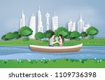 couples cruise in the pool at... | Shutterstock .eps vector #1109736398