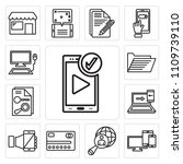 set of 13 simple editable icons ... | Shutterstock .eps vector #1109739110