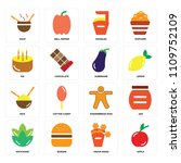 set of 16 icons such as apple ... | Shutterstock .eps vector #1109752109