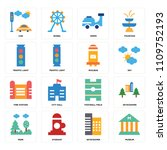 set of 16 icons such as museum  ... | Shutterstock .eps vector #1109752193