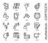 set of 16 icons such as recruit ...