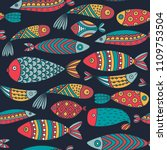 seamless pattern with fishes.... | Shutterstock .eps vector #1109753504