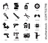 set of 16 icons such as chisel  ...
