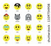 set of 16 icons such as nervous ...