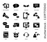set of 16 icons such as talk ...