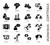 set of 16 icons such as speech  ...