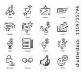 set of 16 icons such as review  ... | Shutterstock .eps vector #1109755796