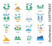 set of 16 icons such as sydney  ...