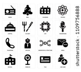 set of 16 icons such as add...