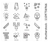 set of 16 icons such as fakir ...