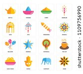 set of 16 icons such as anise ...