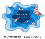 tropical beach in paper art... | Shutterstock .eps vector #1109764649
