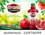 pomegranates bottled juice ads... | Shutterstock .eps vector #1109766599