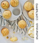 Stock photo cornbread muffin flat lay 1109768993