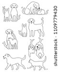 set of cat and dog pairs | Shutterstock .eps vector #1109779430