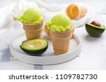 green avocado ice cream scoops... | Shutterstock . vector #1109782730