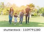 group of family  relaxing and... | Shutterstock . vector #1109791280