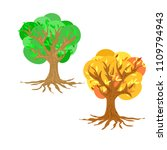 isolated flat colorful tree set ... | Shutterstock .eps vector #1109794943