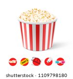 realistic white pop corn bucket ... | Shutterstock .eps vector #1109798180