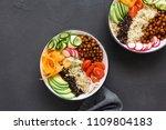 two vegetarian buddha bowl....   Shutterstock . vector #1109804183