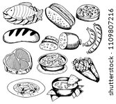 food set of black and white... | Shutterstock .eps vector #1109807216