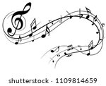 abstract music notes on line... | Shutterstock .eps vector #1109814659