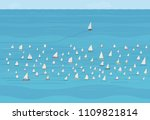 sailboat heading off in a... | Shutterstock .eps vector #1109821814