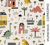 cartoon city with dinosaurs... | Shutterstock .eps vector #1109833943