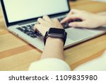 woman using laptop  and put a... | Shutterstock . vector #1109835980