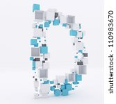3d letter d build out of cubes | Shutterstock . vector #110983670
