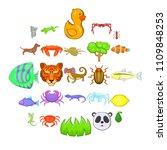 herbivores icons set. cartoon... | Shutterstock .eps vector #1109848253