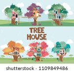 set of tree houses collection... | Shutterstock .eps vector #1109849486