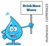 blue water drop cartoon mascot... | Shutterstock .eps vector #1109856623