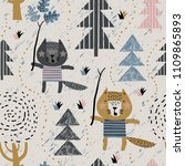childish seamless pattern with... | Shutterstock .eps vector #1109865893