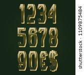 golden tweed textured numbers... | Shutterstock .eps vector #1109875484
