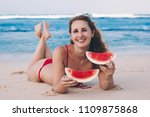 young woman in red bikini with... | Shutterstock . vector #1109875868