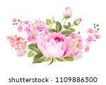 Stock vector blooming spring flowers garland of purple roses sakura and lilac label with rose and sacura 1109886500