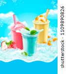 summer ice shaved takeout cup...   Shutterstock .eps vector #1109890826