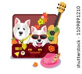 two cute dogs in a suitcase ...   Shutterstock .eps vector #1109891210