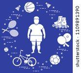 fat boy  badminton rackets and... | Shutterstock .eps vector #1109891390