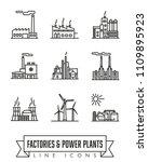 vector line icons of factories...   Shutterstock .eps vector #1109895923