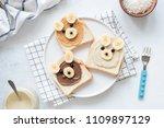 breakfast toasts with nut... | Shutterstock . vector #1109897129