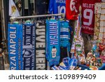 Small photo of Naples, Campania, Italy - May 21, 2018: Napoli SSC Soccer fan articles on sell in a shop in Naples city center. Formed in 1926, the club plays in Serie A, the top flight of Italian football.
