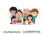 big family happy together.... | Shutterstock .eps vector #1109899556