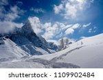 snow peak mountain landscape... | Shutterstock . vector #1109902484