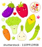 set of cute vegetable icons in... | Shutterstock .eps vector #1109913908