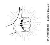 hand drawn female hand in like... | Shutterstock .eps vector #1109916128